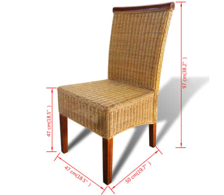 vidaXL Dining Chairs 6 pcs Rattan Brown[7/7]
