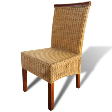 vidaXL Dining Chairs 6 pcs Rattan Brown[4/7]