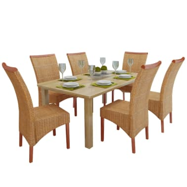 vidaXL Dining Chairs 6 pcs Rattan Brown[1/7]