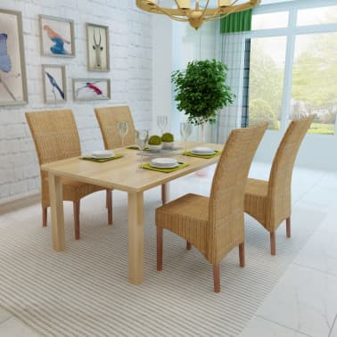 vidaXL Dining Chairs 4 pcs Rattan Brown[3/8]