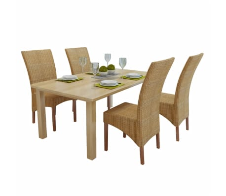 vidaXL Dining Chairs 4 pcs Rattan Brown[1/8]