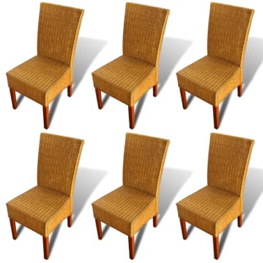 vidaXL Dining Chairs 6 pcs Rattan Brown[2/8]