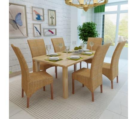 vidaXL Dining Chairs 6 pcs Rattan Brown[3/8]