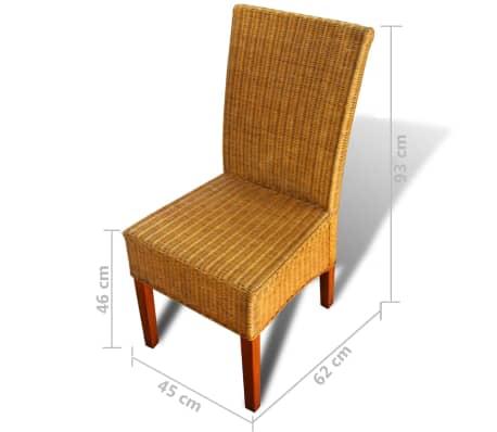 vidaXL Dining Chairs 6 pcs Rattan Brown[8/8]