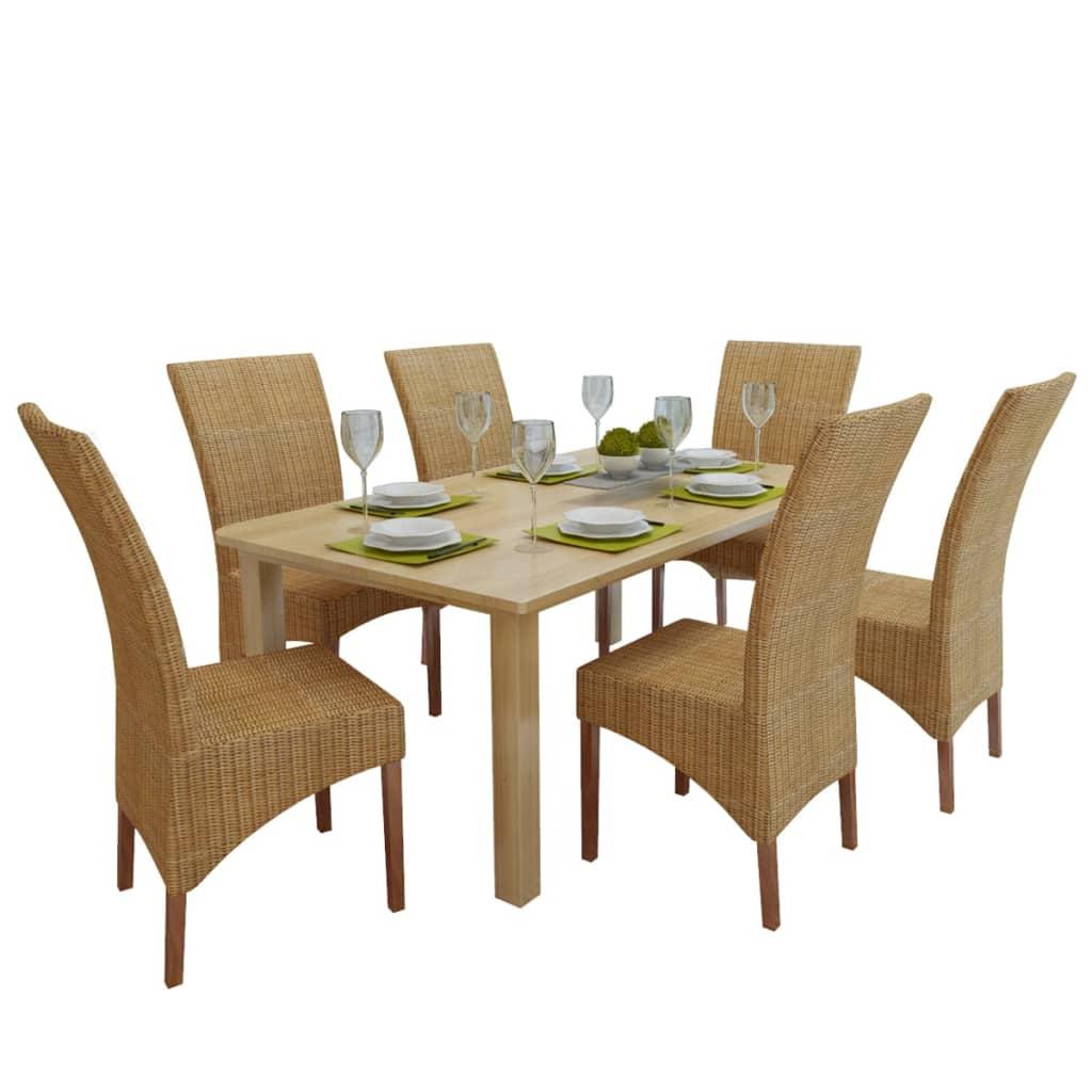 vidaXL Καρέκλες Τραπεζαρίας 6 τεμ. Καφέ από Ρατάν