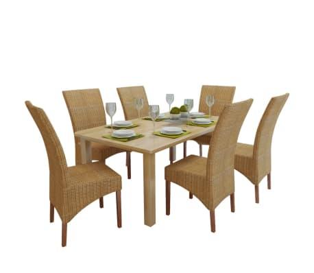 vidaXL Dining Chairs 6 pcs Rattan Brown[1/8]