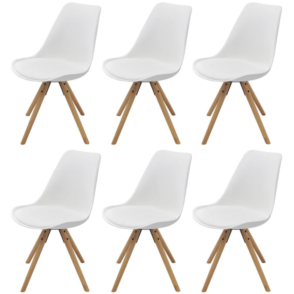 vidaXL Jídelní židle 6 ks umělá kůže bílá
