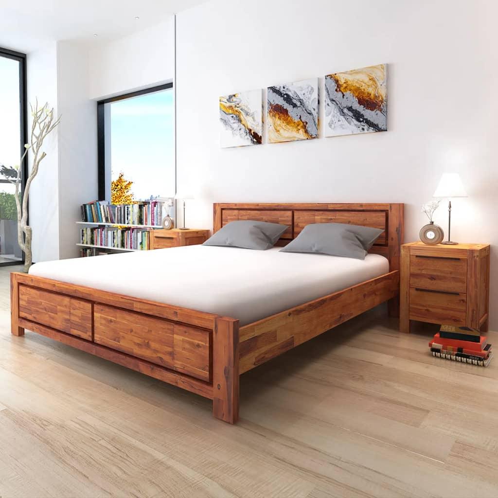 vidaXL Postel s nočními stolky akáciové dřevo hnědé 180 cm