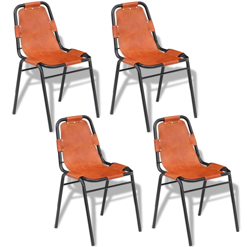 vidaXL Jídelní židle 4 ks hnědé 59x44x89 cm pravá kůže