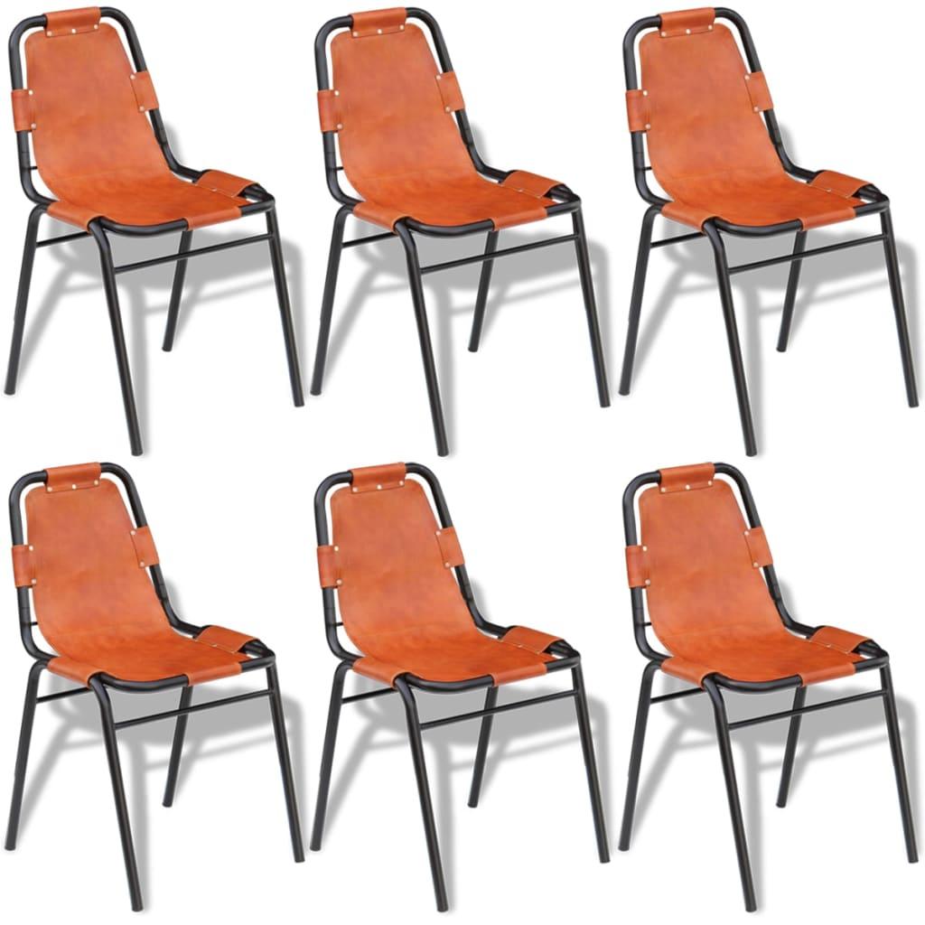 vidaXL Καρέκλες Τραπεζαρίας 6 τεμ. Καφέ 59 x 44 x 89 εκ. Γνήσιο Δέρμα