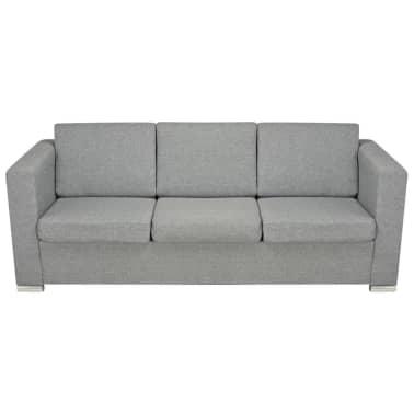 Vidaxl 3 pz set di divani in stoffa grigio chiaro for Divani in stoffa