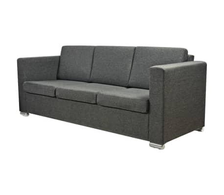 Vidaxl 2 pz set di divani in stoffa grigio scuro for Divani in stoffa