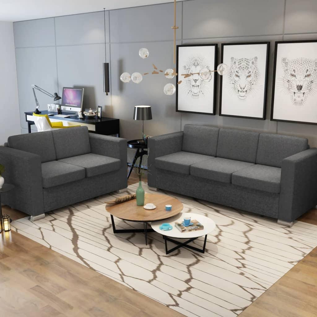 Canapé 3 places Gris Tissu Confort