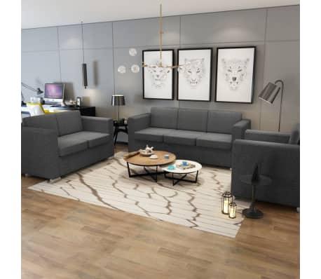 Vidaxl 3 pz set di divani in stoffa grigio scuro for Divani in stoffa