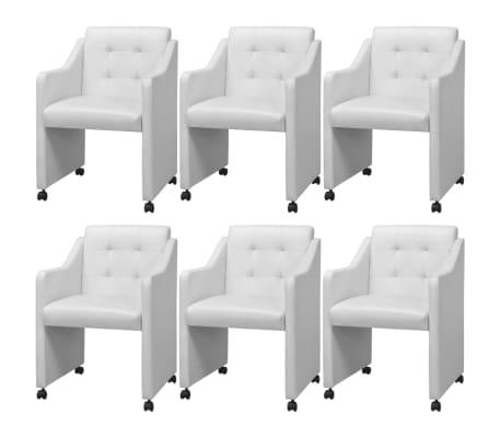 vidaXL spisebordsstole 6 stk. hvid kunstlæder