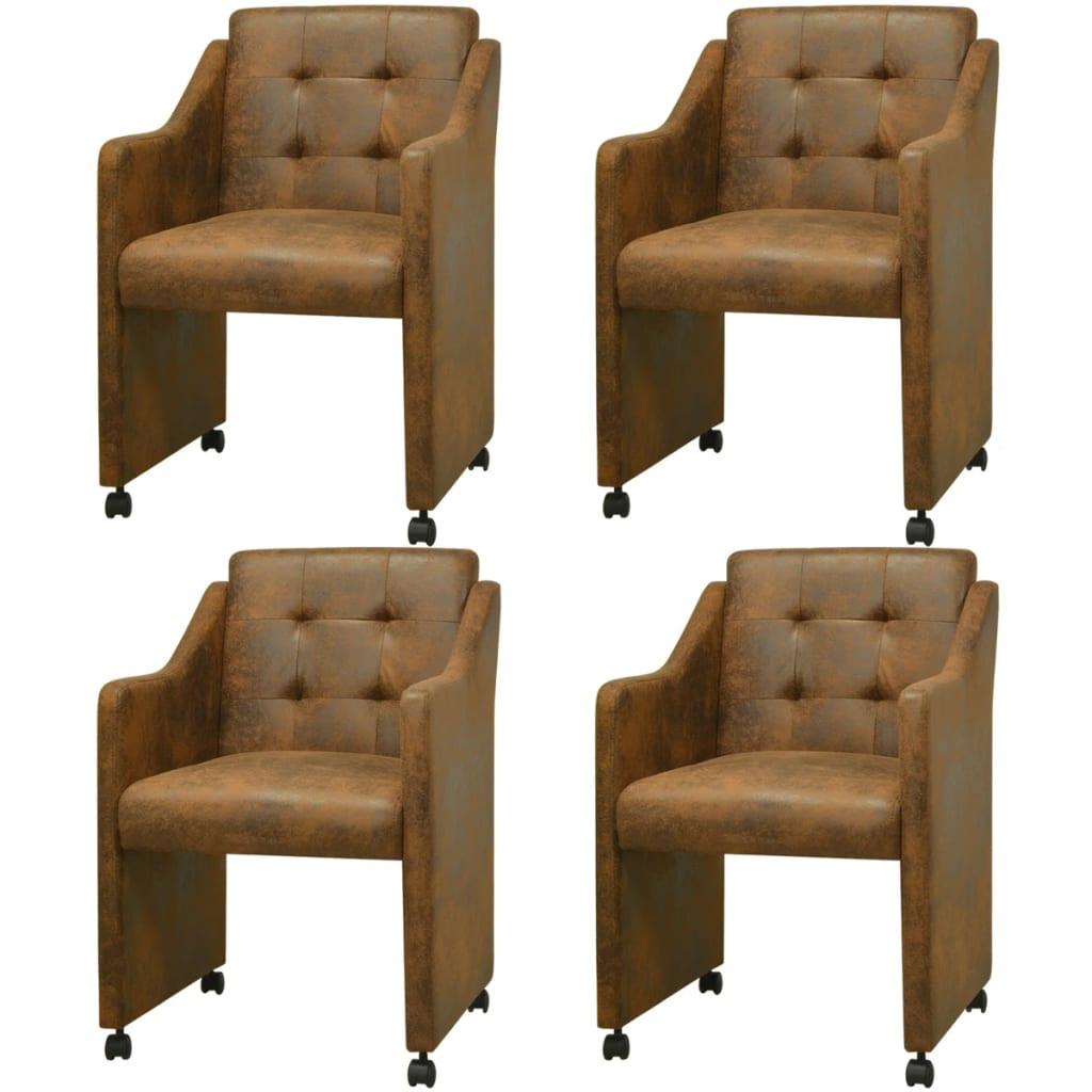 vidaXL Jídelní židle 4 ks hnědé 59x57,5x86,5 cm