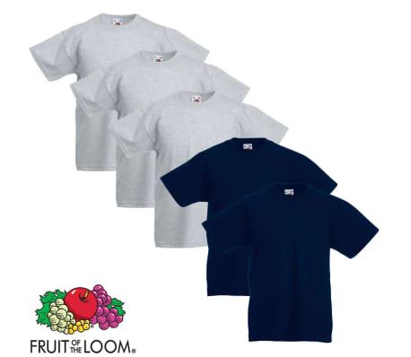 5 db Szürke és tengerész 152-es méretű eredeti Fruit of the Loom gyerek póló 988075b0f1