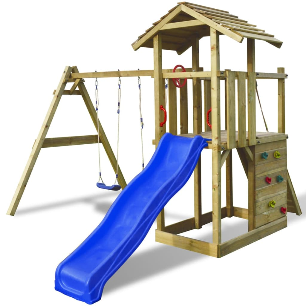 Dřevěný hrací set s žebříkem, skluzavkou a houpačkami 419x350x266 cm