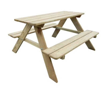 vidaXL Kid's Picnic Table 89 x 89.6 x 50.8 cm Pinewood