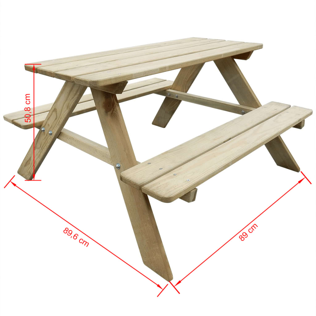 Details About Children Kid S Portable Camping Picnic Table Benches Pinewood Outdoor Garden Hot