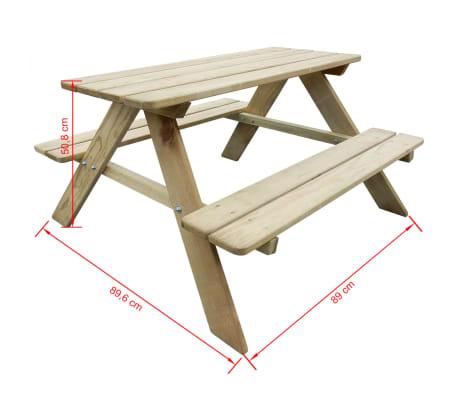 vidaXL Picknicktafel voor kinderen 89x89,6x50,8 cm FSC grenenhout[4/4]