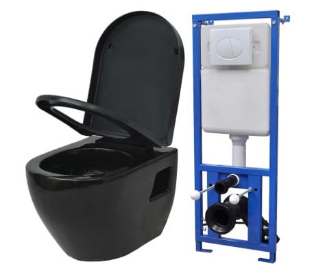 acheter vidaxl toilette suspendue au mur avec r servoir c ramique noir pas cher. Black Bedroom Furniture Sets. Home Design Ideas