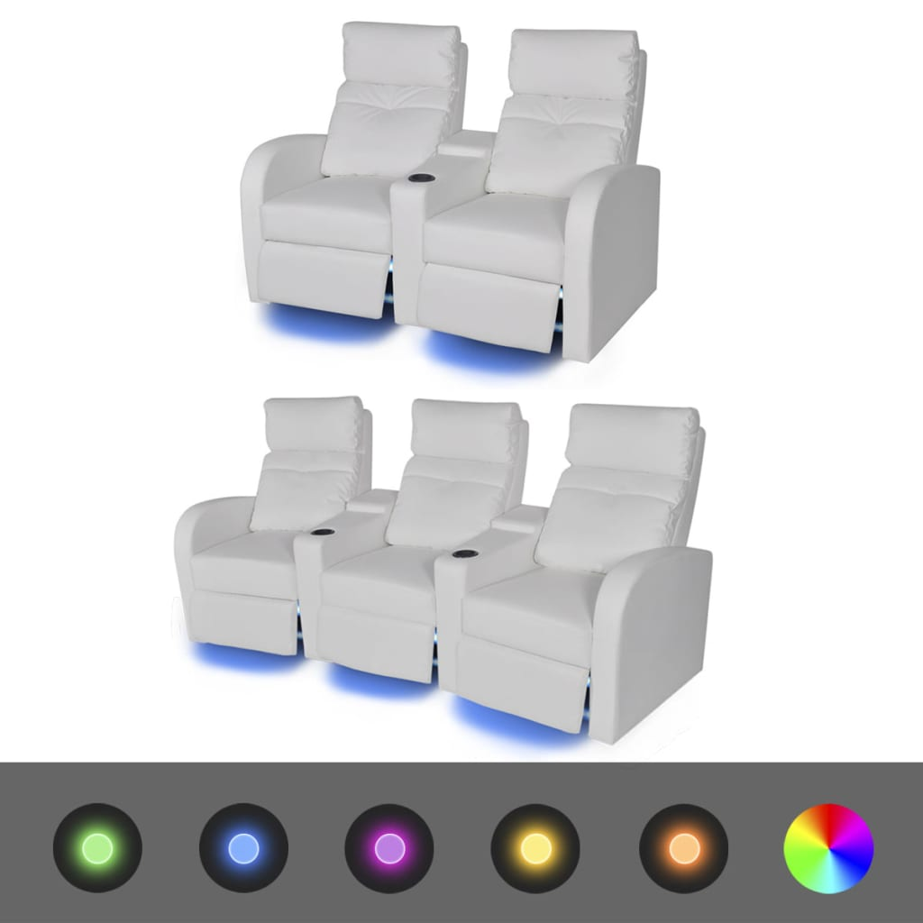 vidaXL 2 ks LED polohovací křesla dvojsedačkové + trojsedačkové umělá kůže bílá