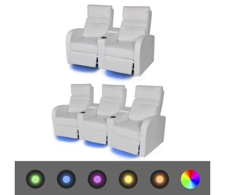 vidaXL Fauteuil inclinable deux pièces 2+3 places Cuir Artificiel Blanc