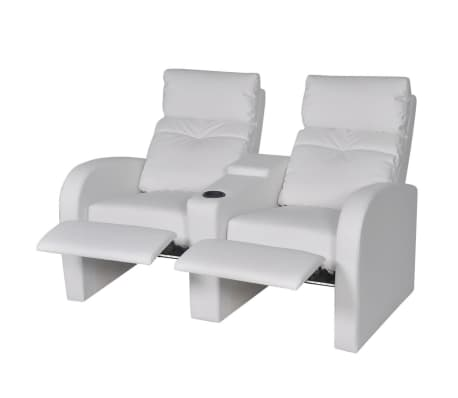 vidaxl fauteuil inclinable deux pi ces 2 3 places cuir artificiel blanc. Black Bedroom Furniture Sets. Home Design Ideas