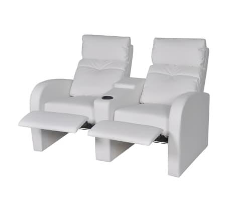 vidaxl fauteuil inclinable deux pi ces 2 3 places cuir artificiel blanc. Black Bedroom Furniture Sets. Home Design Ideas