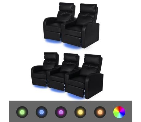 vidaXL Καναπέδες 2+3 Θέσεων Ανακλινόμενοι LED 2 τεμ. Μαύροι Δερματίνη