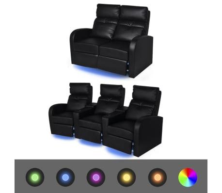vidaXL Fauteuil inclinable à LED 2+3 places Cuir Artificiel Noir