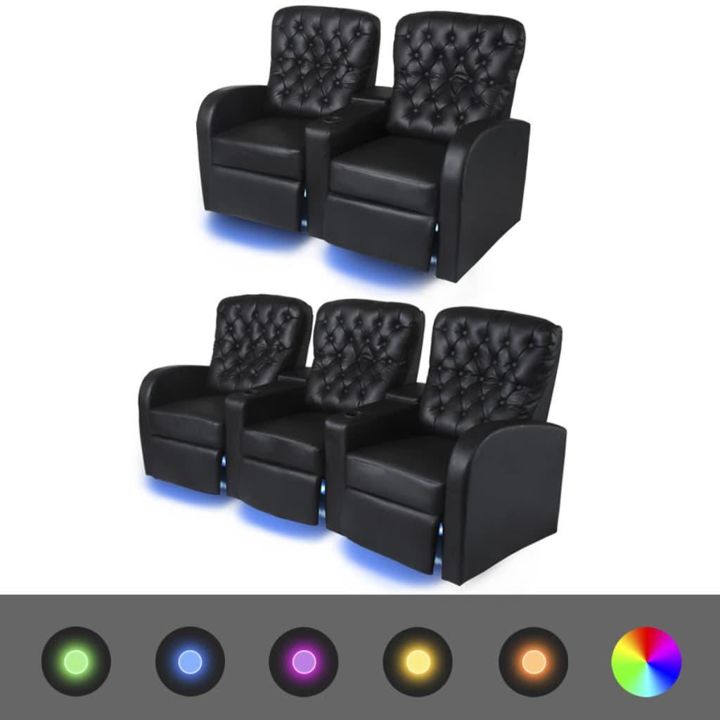 vidaXL Canapea cu LED, 2+3 locuri, piele artificială, negru, 2 piese poza vidaxl.ro