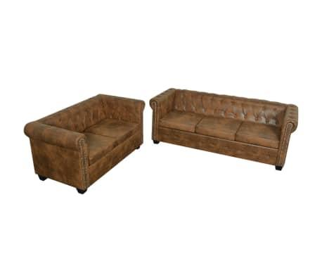 vidaxl chesterfield sofa set 2 sitzer und 3 sitzer. Black Bedroom Furniture Sets. Home Design Ideas