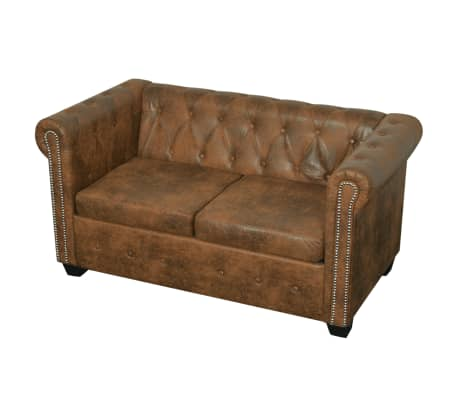 vidaxl chesterfield sofa set 2 sitzer und 3 sitzer kunstleder braun g nstig kaufen. Black Bedroom Furniture Sets. Home Design Ideas