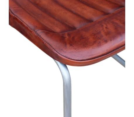 Vidaxl sillas de comedor 6 unidades cuero real con tiras for Sillas comedor cuero marron