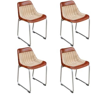 vidaXL Cadeiras de jantar 4 pcs couro genuíno e lona castanho e bege