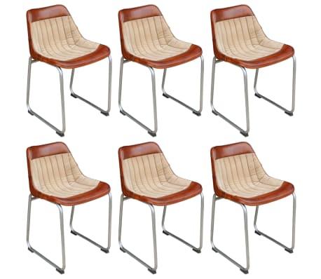 vidaXL Jedálenské stoličky 6 ks, hnedo béžové, pravá koža a plátno