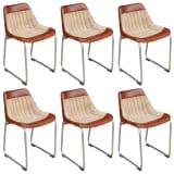 vidaXL Valgomojo kėdės, 6vnt., rudos ir smėlio, tikra oda ir drobė