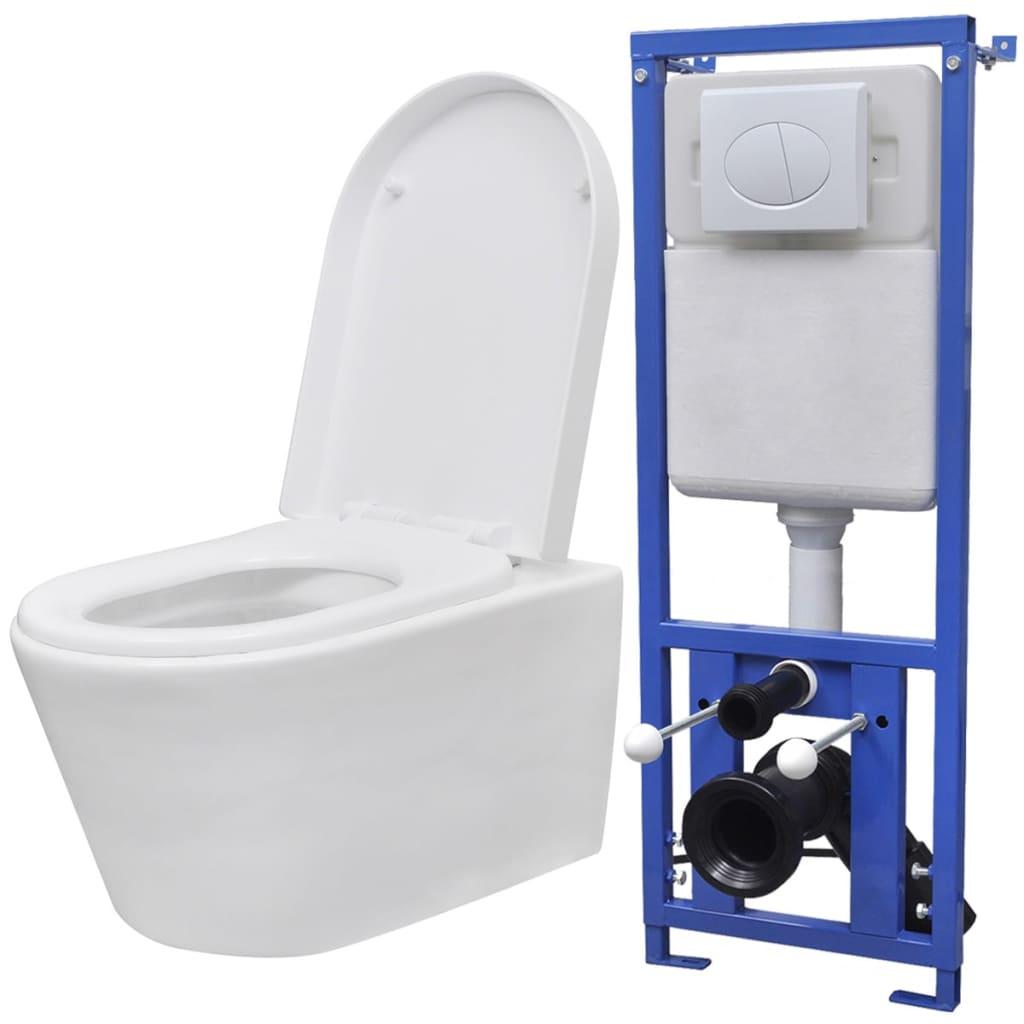 vidaXL Toaletă suspendată cu rezervor încastrat ceramică albă imagine vidaxl.ro