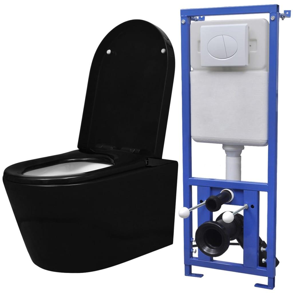 Afbeelding van vidaXL Hangend toilet met verborgen stortbak keramisch zwart