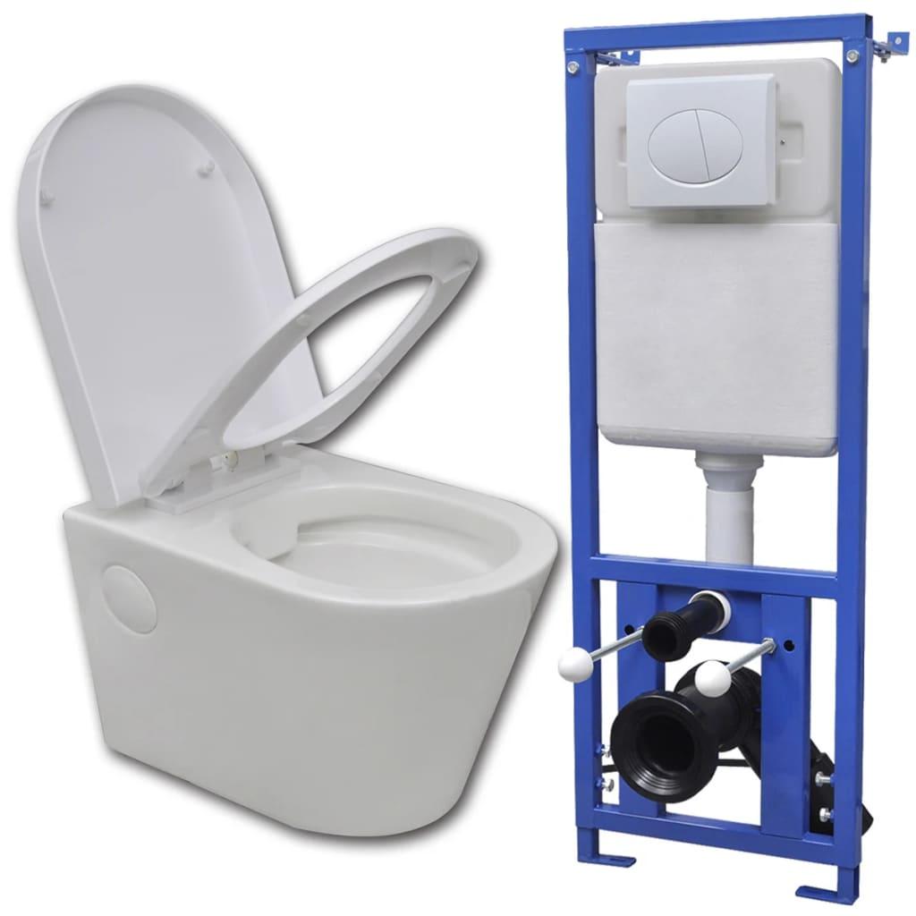 vidaXL Závěsná toaleta s podomítkovou nádržkou, keramika, bílá