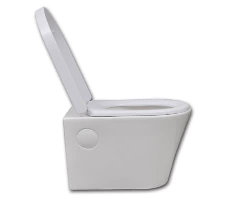 vidaXL Toilette suspendue au mur avec réservoir caché Céramique Blanc