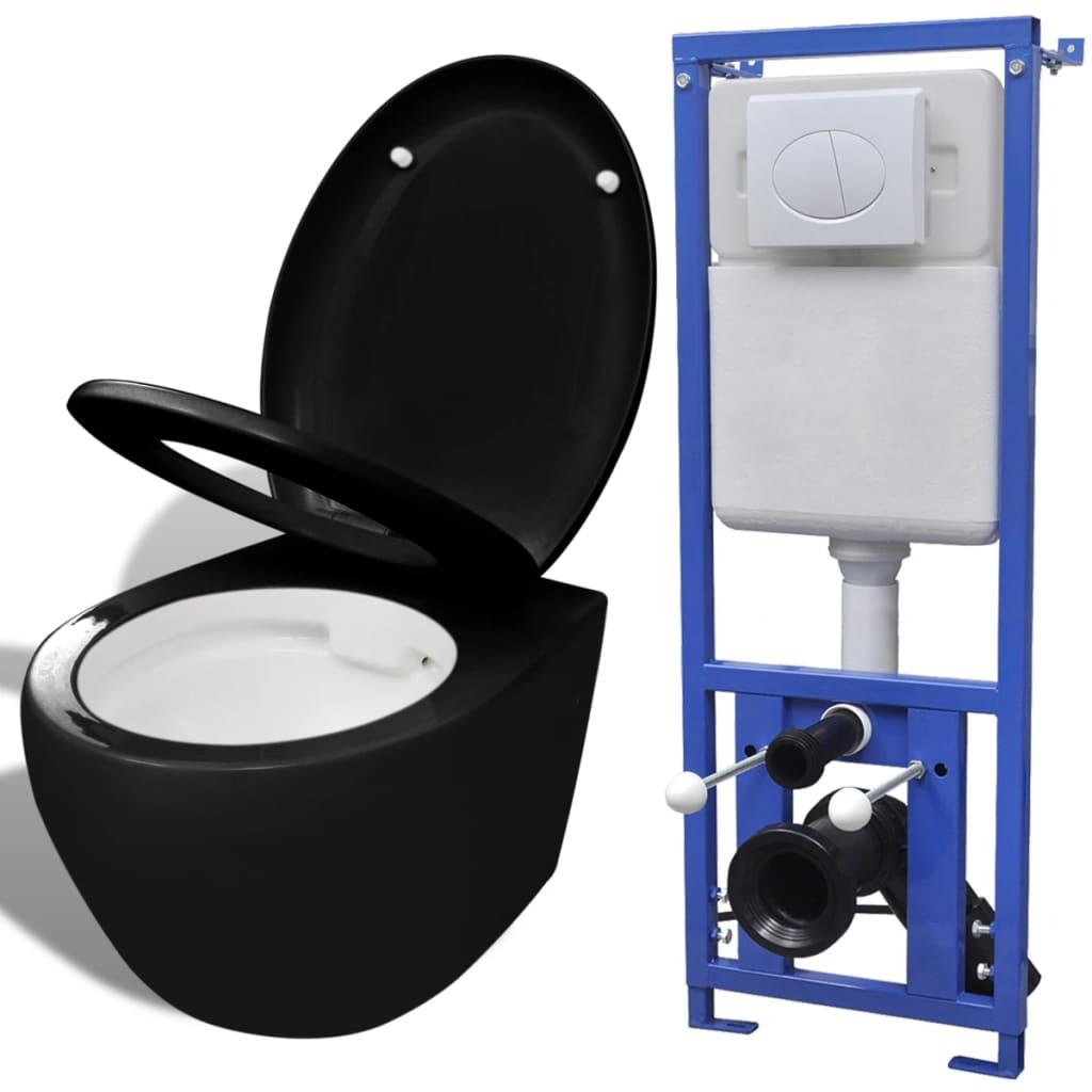 vidaXL Závěsná toaleta s podomítkovou nádržkou, keramika, černá