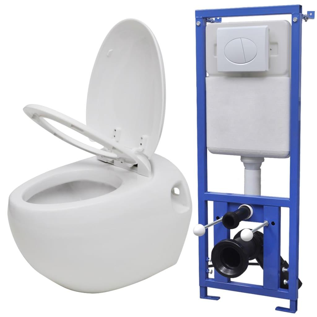 vidaXL Hangend ei-design toilet met ingebouwde stortbak wit