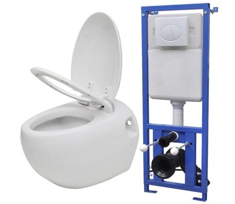 vidaXL Toilette murale avec réservoir caché Design d'œuf Blanc[1/14]