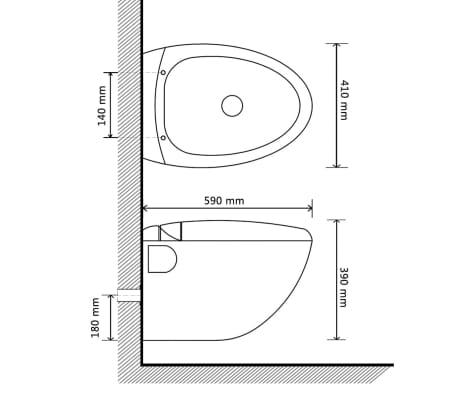 vidaXL Toilette murale avec réservoir caché Design d'œuf Blanc[13/14]