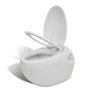 vidaXL Toilette murale avec réservoir caché Design d'œuf Blanc[2/14]