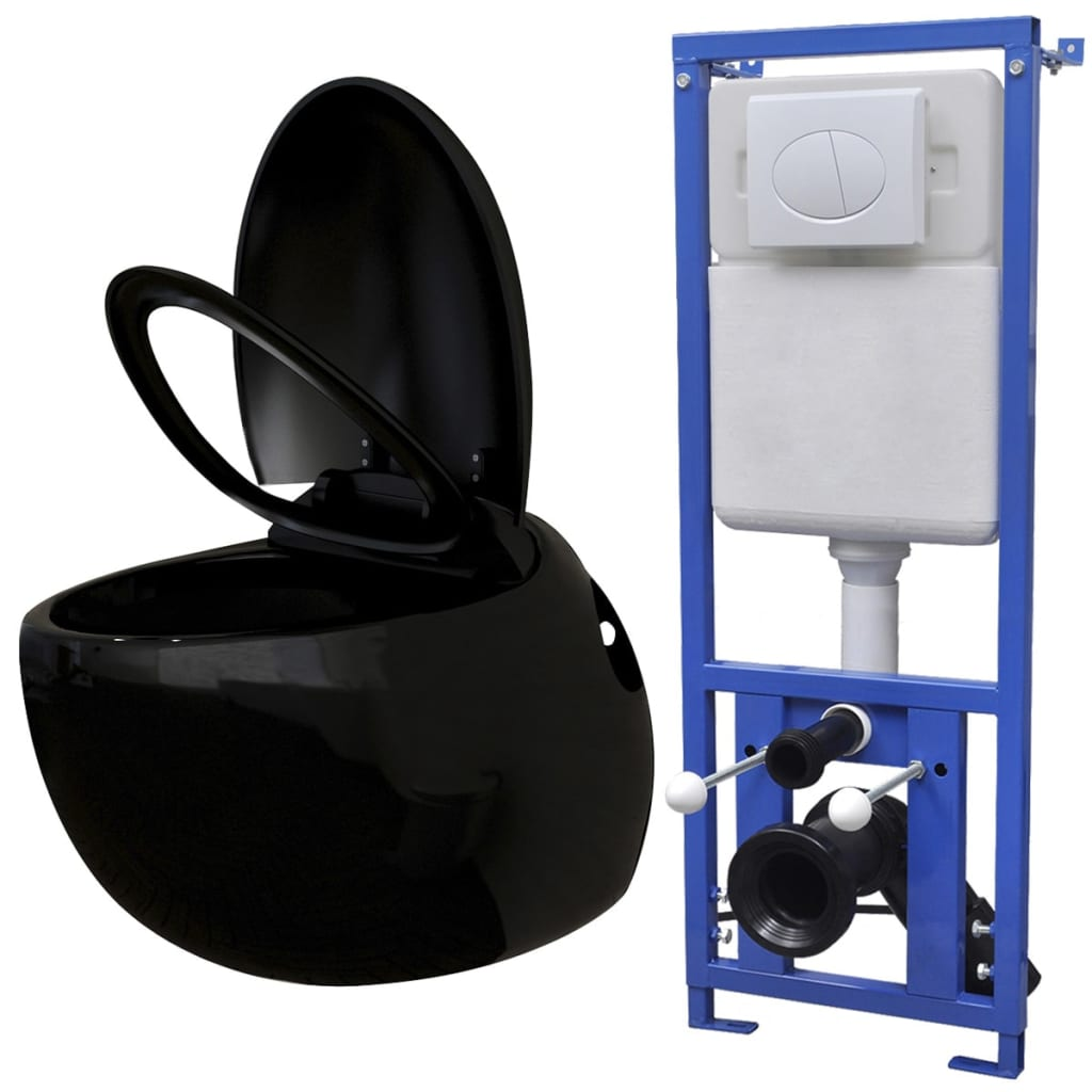 vidaXL Závěsná toaleta vejčitého tvaru, s podomítkovou nádržkou, černá