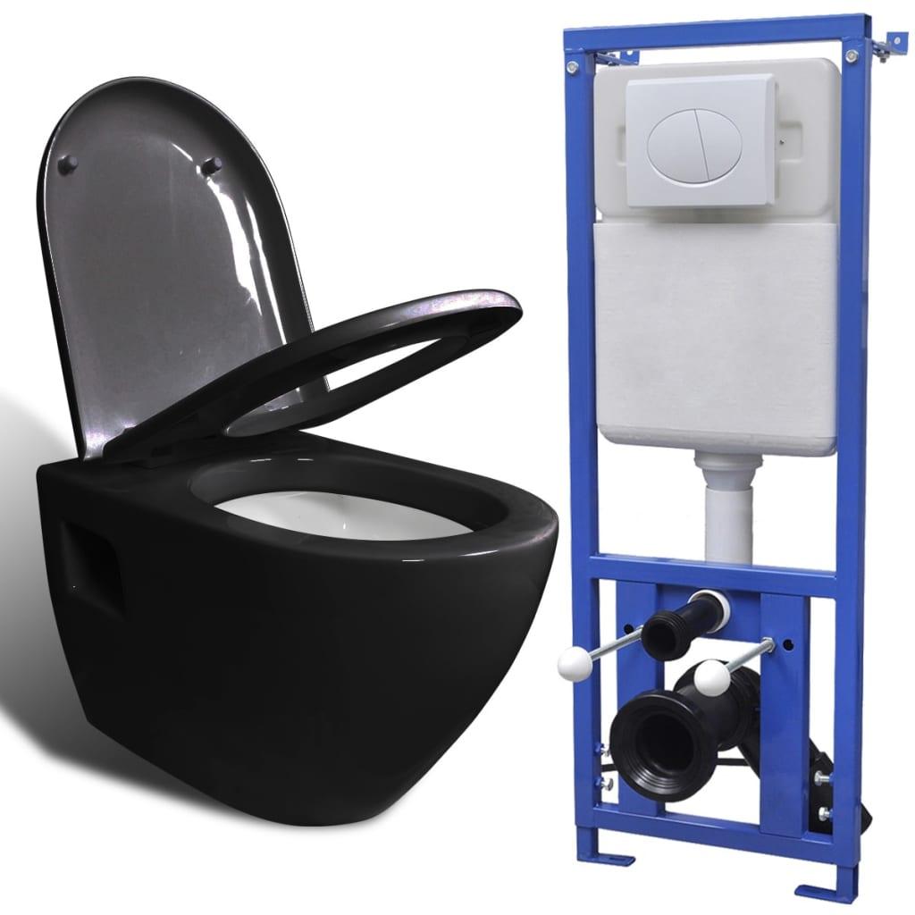 vidaXL Závěsná toaleta s nádržkou, keramická černá